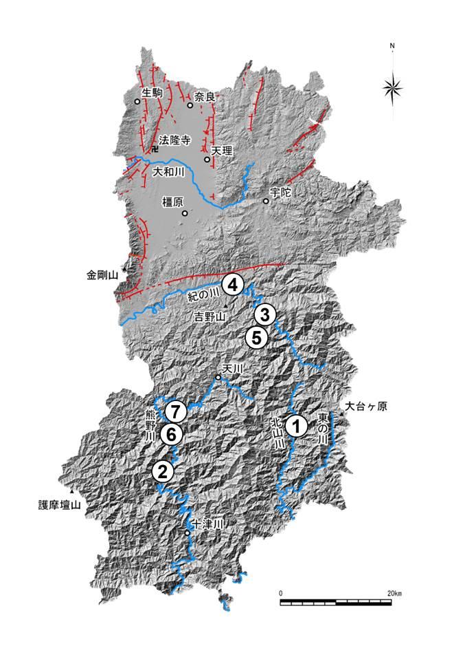 奈良県の主な土砂災害分布図