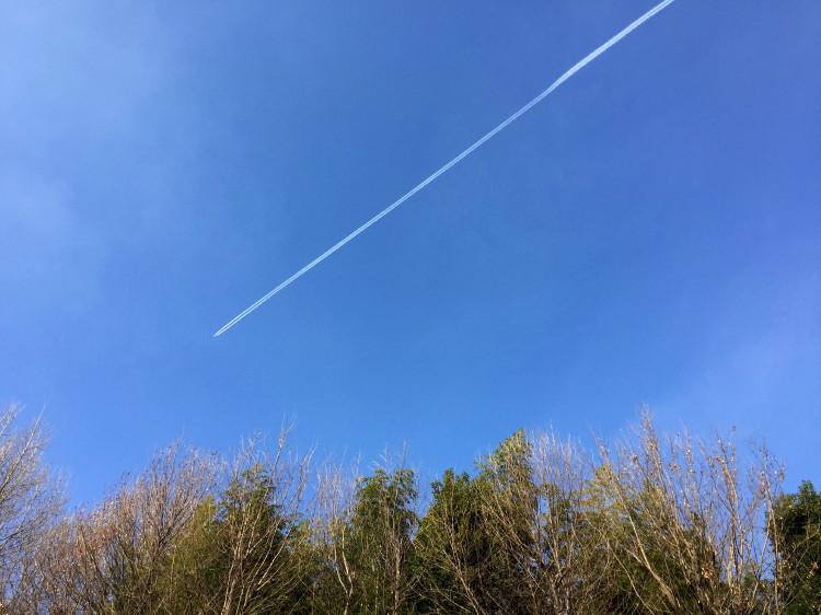 一直線の飛行機雲